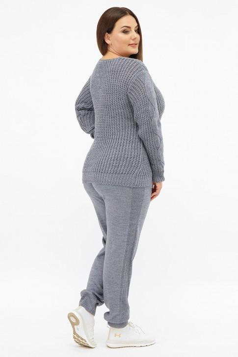 Женский вязаный костюм батал, джинс SKKB006 (фото 2)