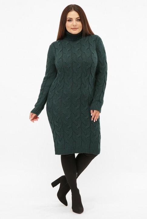 Платье короткое вязаное батал под горло, темно-зеленое VPBB011
