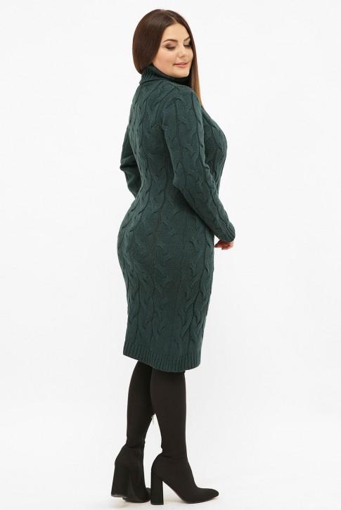 Платье короткое вязаное батал под горло, темно-зеленое VPBB011 (фото 2)