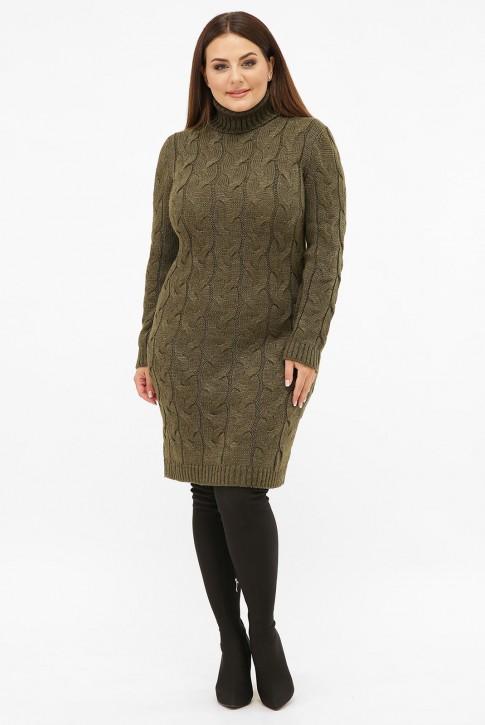 Платье короткое вязаное батал под горло, хаки VPBB010