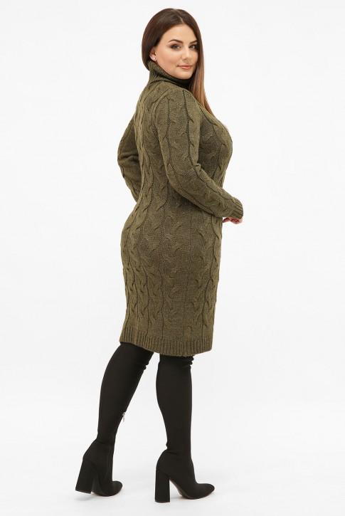 Платье короткое вязаное батал под горло, хаки VPBB010 (фото 2)