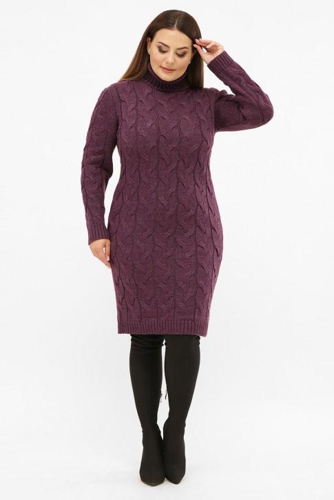 Платье короткое вязаное батал под горло, баклажан VPBB009