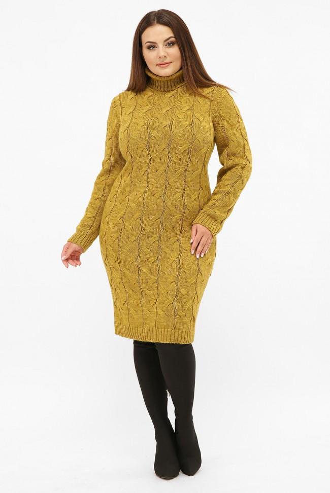 Платье короткое вязаное батал под горло, горчица VPBB008