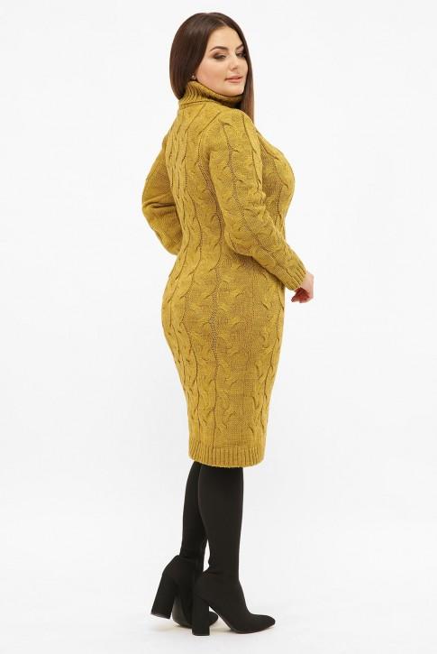 Платье короткое вязаное батал под горло, горчица VPBB008 (фото 2)