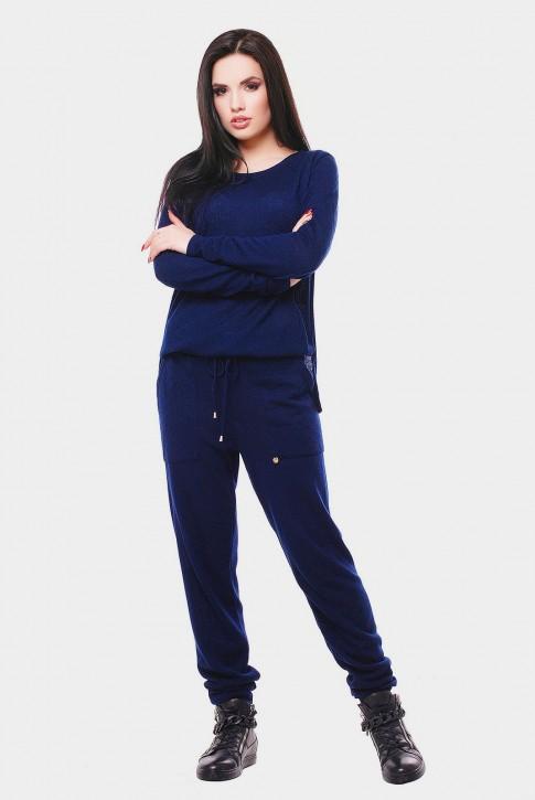 Вязаный женский комбинезон, темно-синий VKB0001