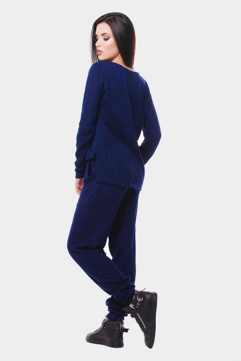 Вязаный женский комбинезон, темно-синий VKB0001 (фото 2)