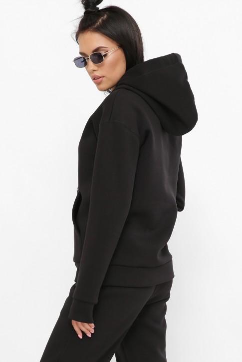Худи женское теплое на флисе, черное HD-100K (фото 2)