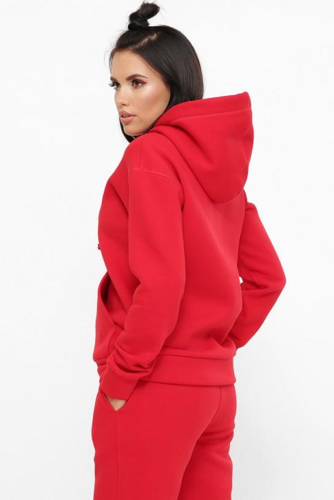 Худи женское теплое на флисе, красное HD-100R (фото 2)