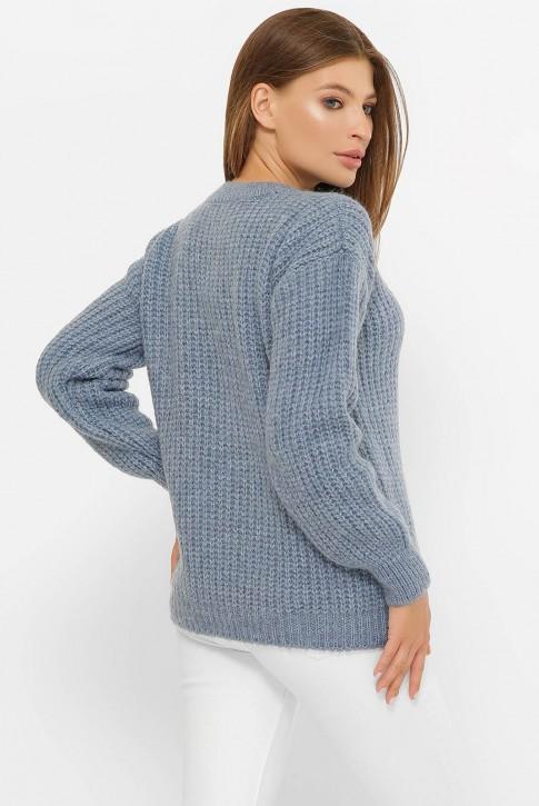 Шерстяной вязаный джемпер, джинсовый SVF0004 (фото 2)