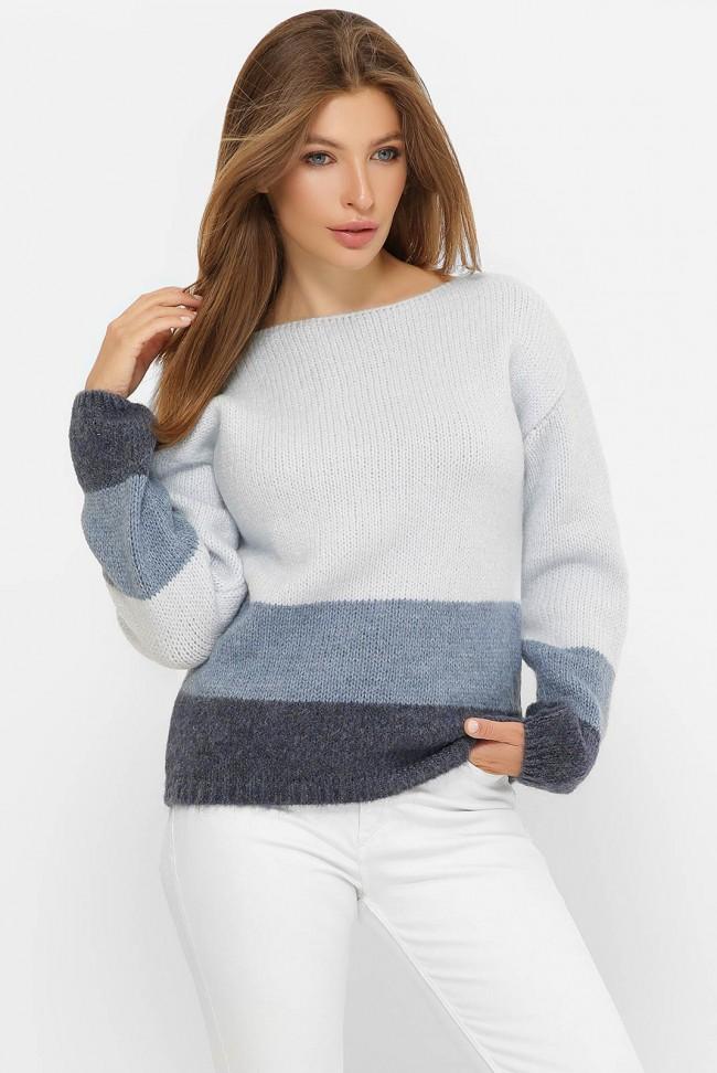 Трехцветный свитер, голубой-джинс-графит  SVE0001