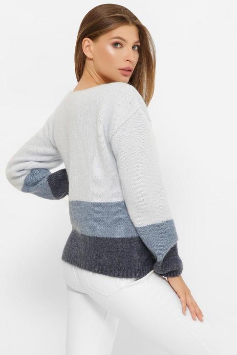 Трехцветный свитер, голубой-джинс-графит  SVE0001 (фото 2)