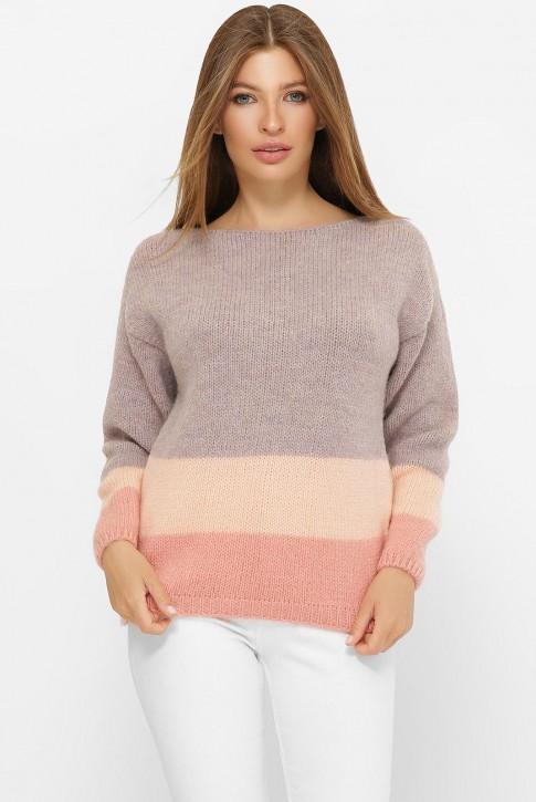 Трехцветный свитер, лиловый-персик-розовый SVE0005