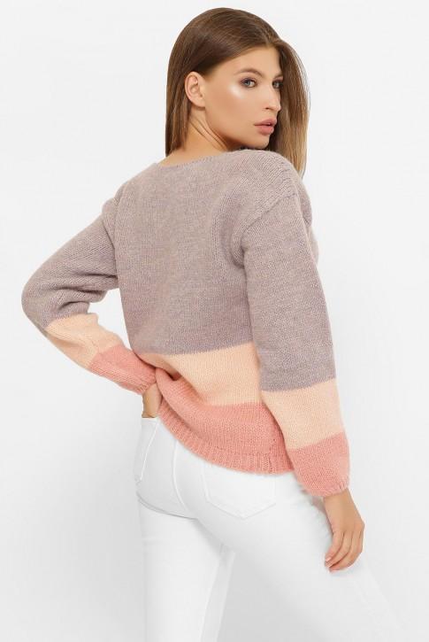 Трехцветный свитер, лиловый-персик-розовый SVE0005 (фото 2)
