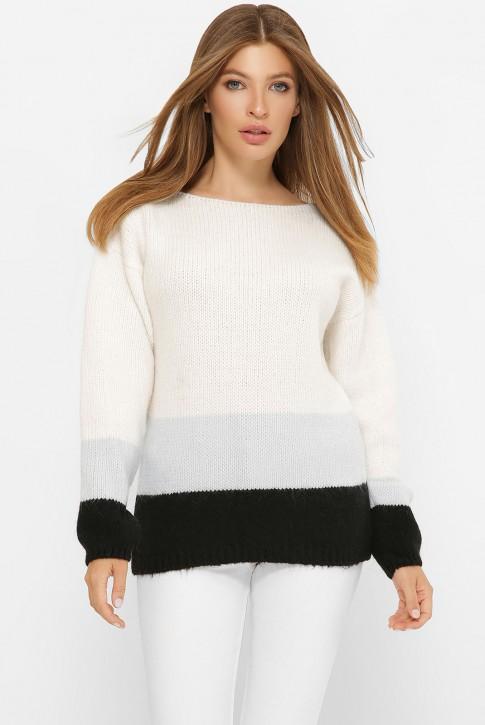 Трехцветный свитер, белый-серый-черный SVE0006