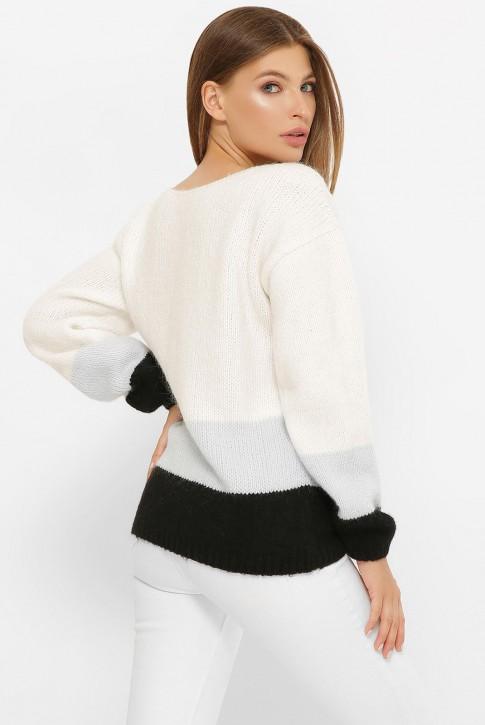 Трехцветный свитер, белый-серый-черный SVE0006 (фото 2)