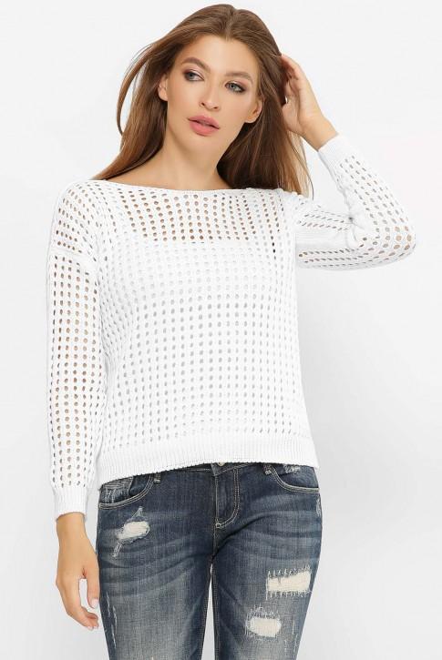 Легкий вязаный свитер в сетку, белый SVD0001