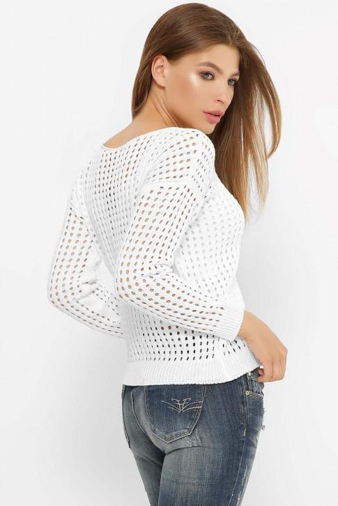 Легкий вязаный свитер в сетку, белый SVD0001 (фото 2)