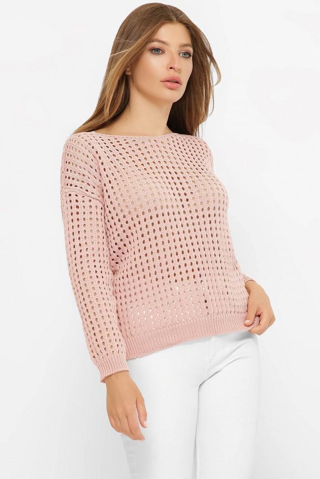 Легкий вязаный свитер в сетку, пудровый SVD0002