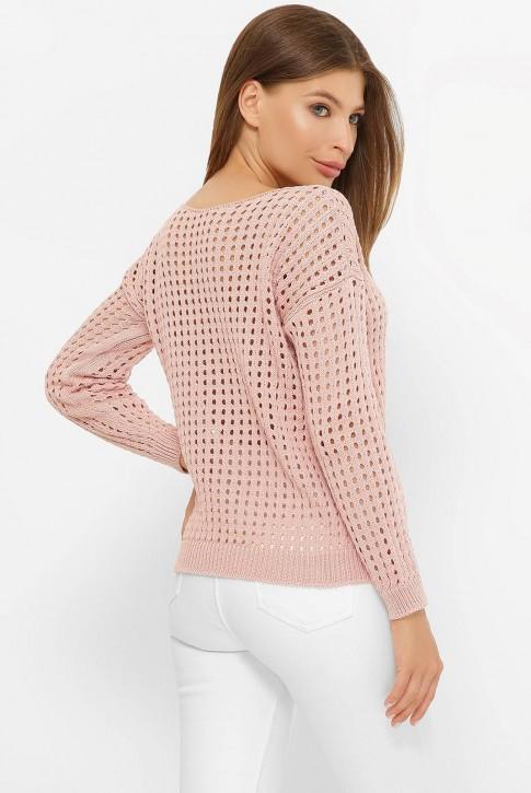 Легкий вязаный свитер в сетку, пудровый SVD0002 (фото 2)