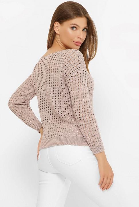 Легкий вязаный свитер в сетку, мокко SVD0003 (фото 2)
