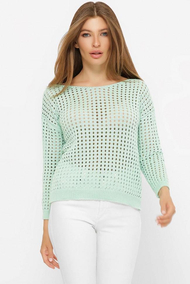 Легкий вязаный свитер в сетку, мятный SVD0004