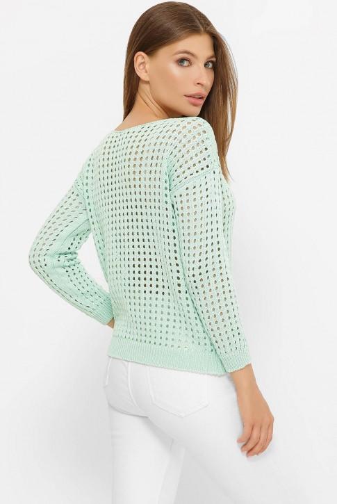 Легкий вязаный свитер в сетку, мятный SVD0004 (фото 2)