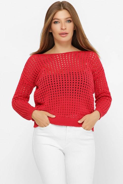 Легкий вязаный свитер в сетку, красный SVD0005