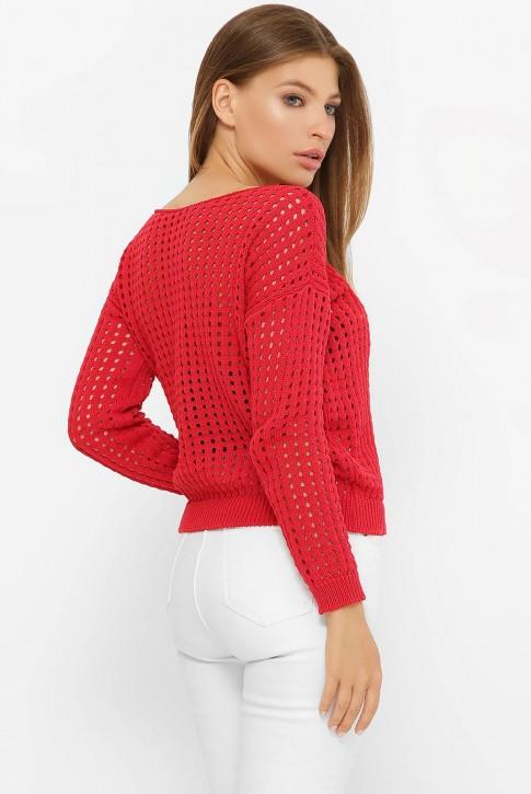 Легкий вязаный свитер в сетку, красный SVD0005 (фото 2)