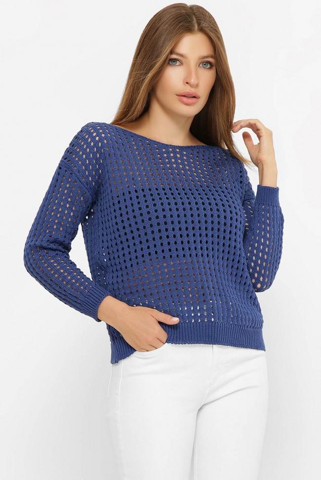 Легкий вязаный свитер в сетку, синий SVD0006
