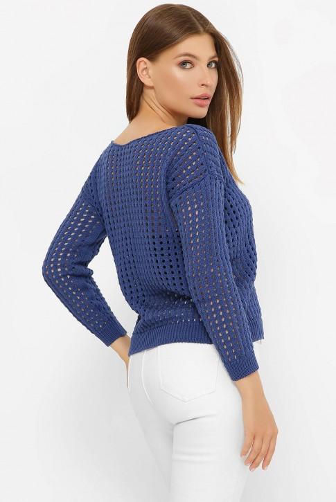 Легкий вязаный свитер в сетку, синий SVD0006 (фото 2)