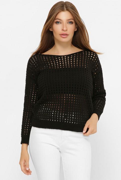 Легкий вязаный свитер в сетку, черный SVD0007