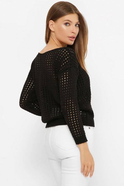 Легкий вязаный свитер в сетку, черный SVD0007 (фото 2)