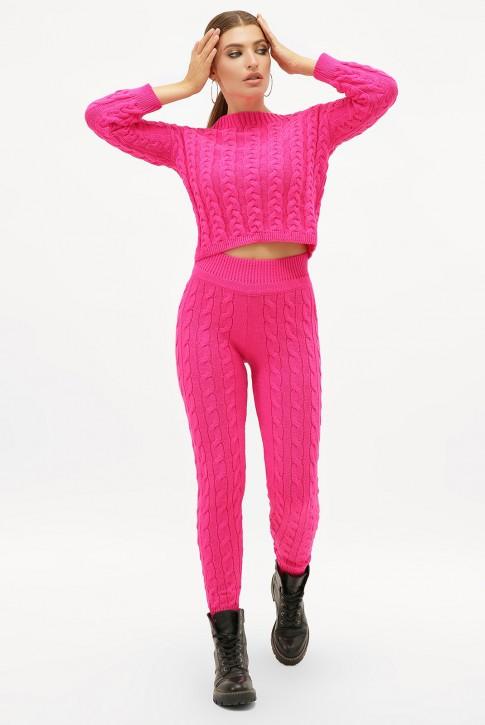 Малиновый вязаный костюм с укороченным свитером. SKY0001