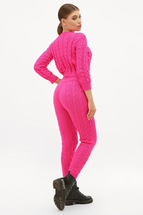 Малиновый вязаный костюм с укороченным свитером. SKY0001 (фото 2)
