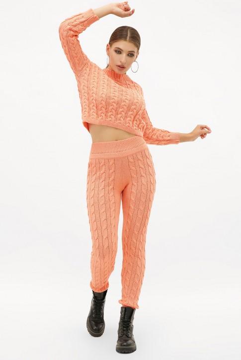 Женский вязаный костюм персикового цвета. SKY0006