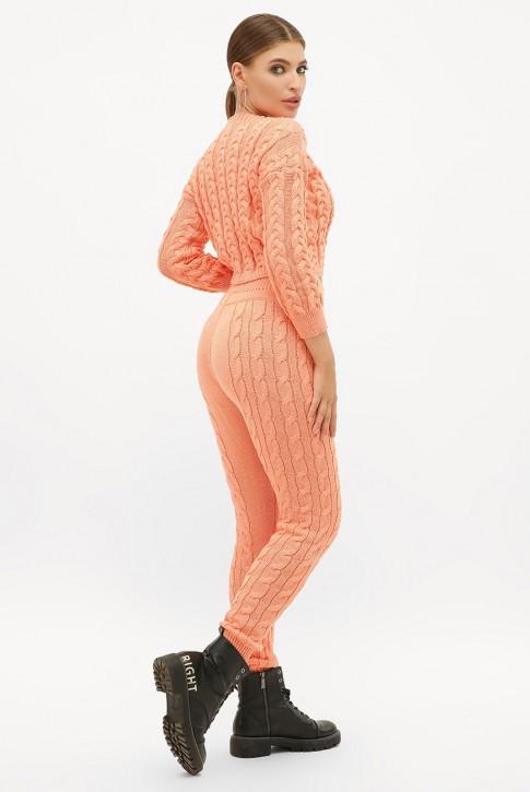 Женский вязаный костюм персикового цвета. SKY0006 (фото 2)
