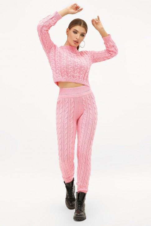 Светло-розовый вязаный костюм с укороченным свитером. SKY0002