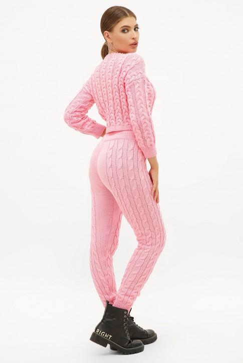 Светло-розовый вязаный костюм с укороченным свитером. SKY0002 (фото 2)