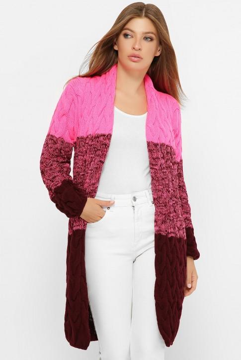 Двухцветный женский кардиган, цвет ярко-розовый и марсала
