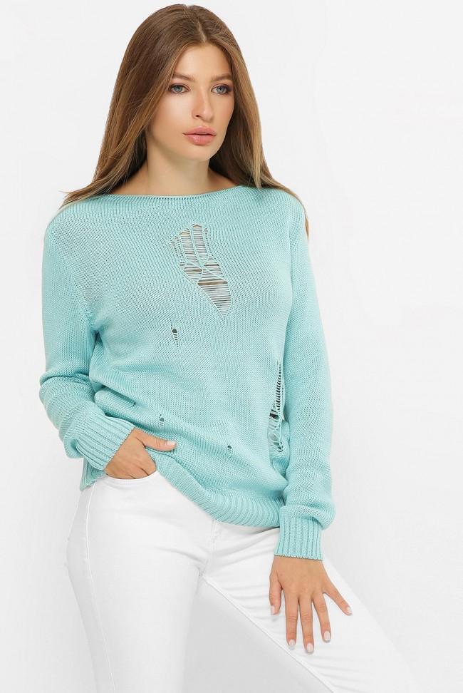 Легкий свитер с дырками, бирюзовый SVR0006