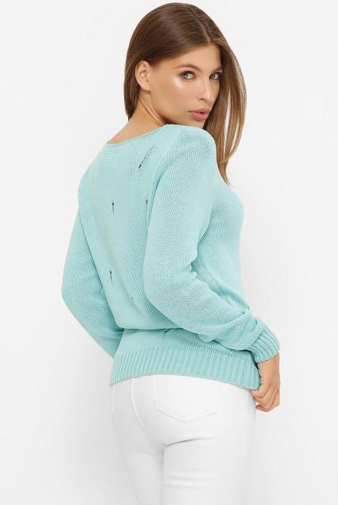 Легкий свитер с дырками, бирюзовый SVR0006 (фото 2)