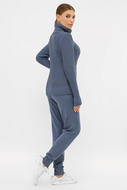 Суперский вязаный костюм джинсового цвета (фото 2)