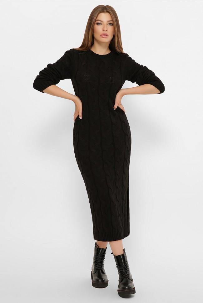 Длинное теплое вязаное платье черного цвета