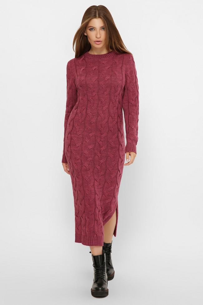 Вязаное свободное платье темно-розового цвета