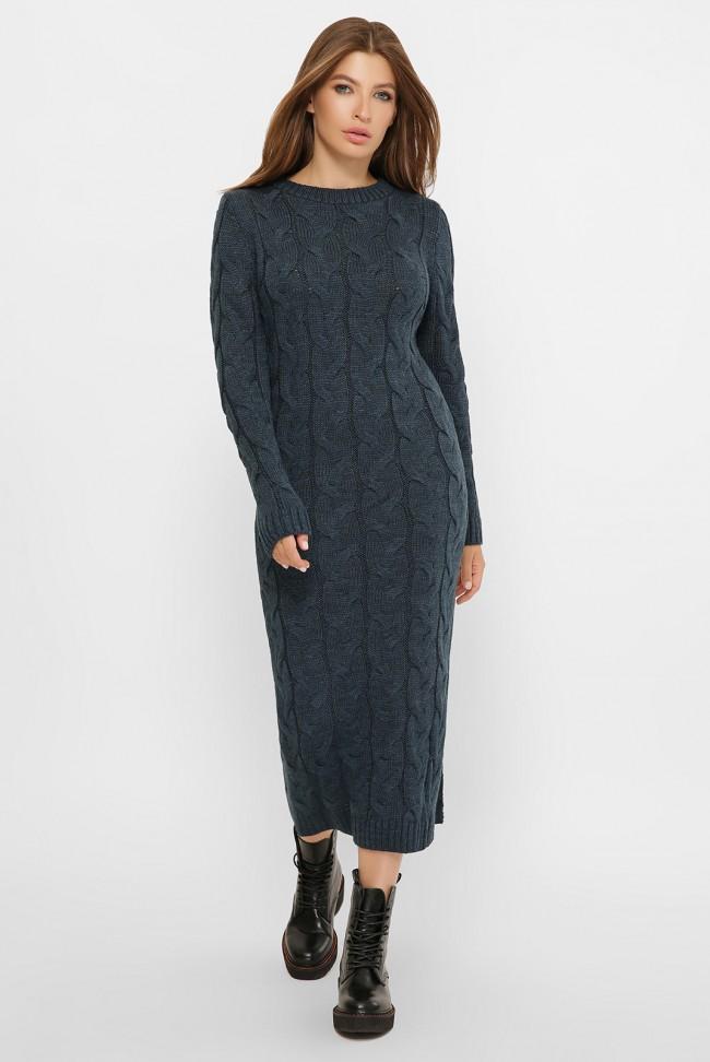 Темное вязаное платье VPD0008 - купить оптом