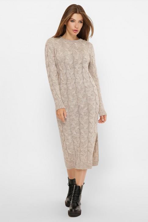 Вязаное бежевое платье Лоло - купить оптом
