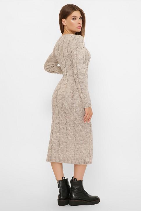 Вязаное бежевое платье Лоло - купить оптом (фото 2)