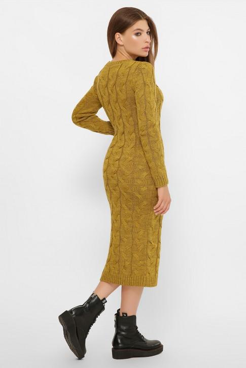 Длинное горчичное вязаное платье (фото 2)
