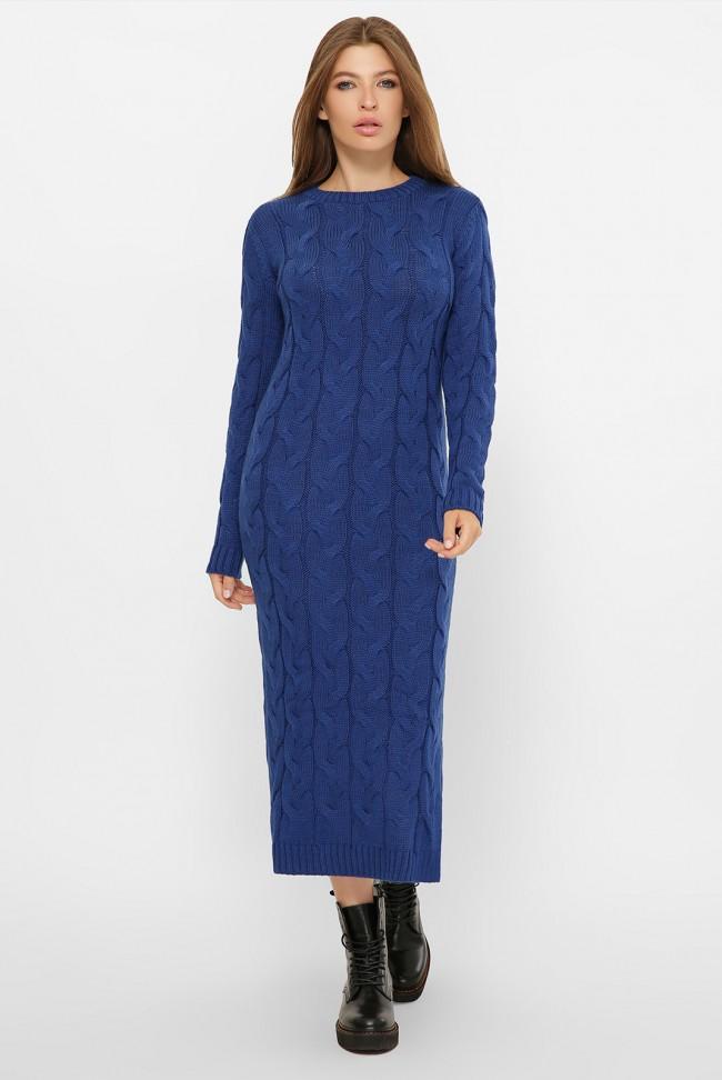 Вязаное женское платье цвета электрик - VPD0015