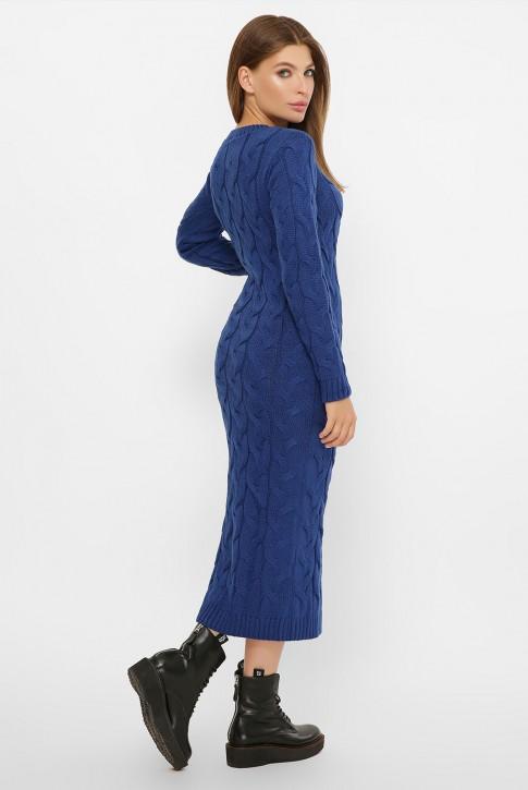 Вязаное женское платье цвета электрик - VPD0015 (фото 2)